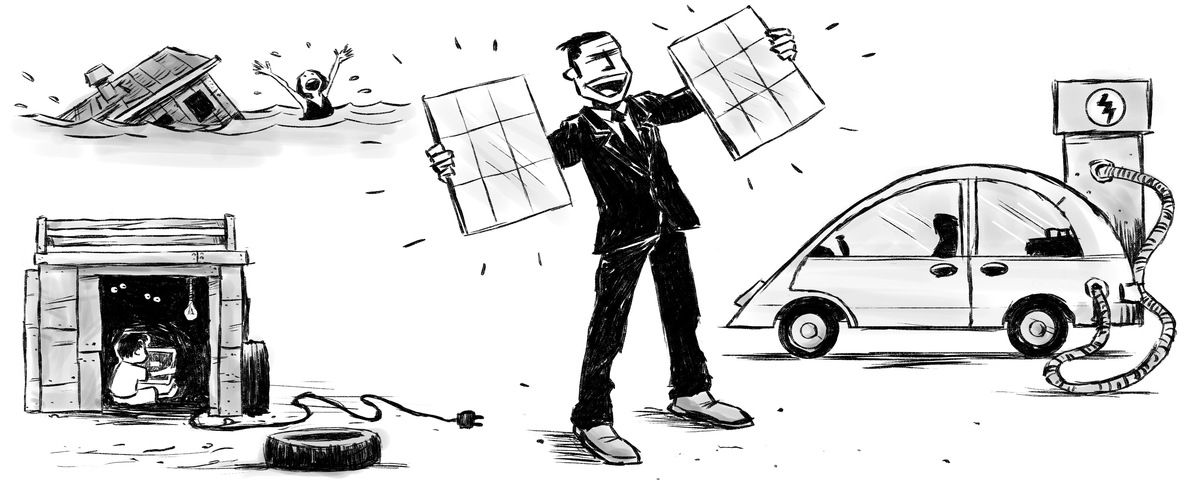 A man in a suit holds solar panels to charge his electric car while a family huddles in the dark and a person is drowning in a flood.
