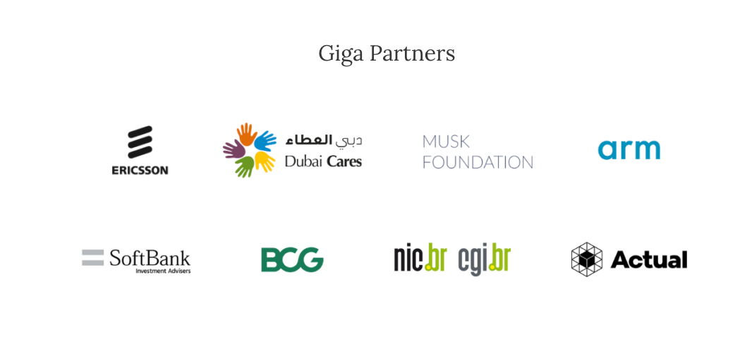 Giga's partners include Ericsson, Dubai Cares, the Musk Foundation, arm, SoftBank, BCG (Boston Consulting Group), nic.br and cgi,br, and Actual